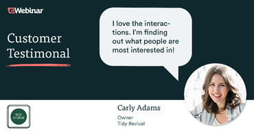 Carly Adams giving testimonial for eWebinar saying she loves the interactions