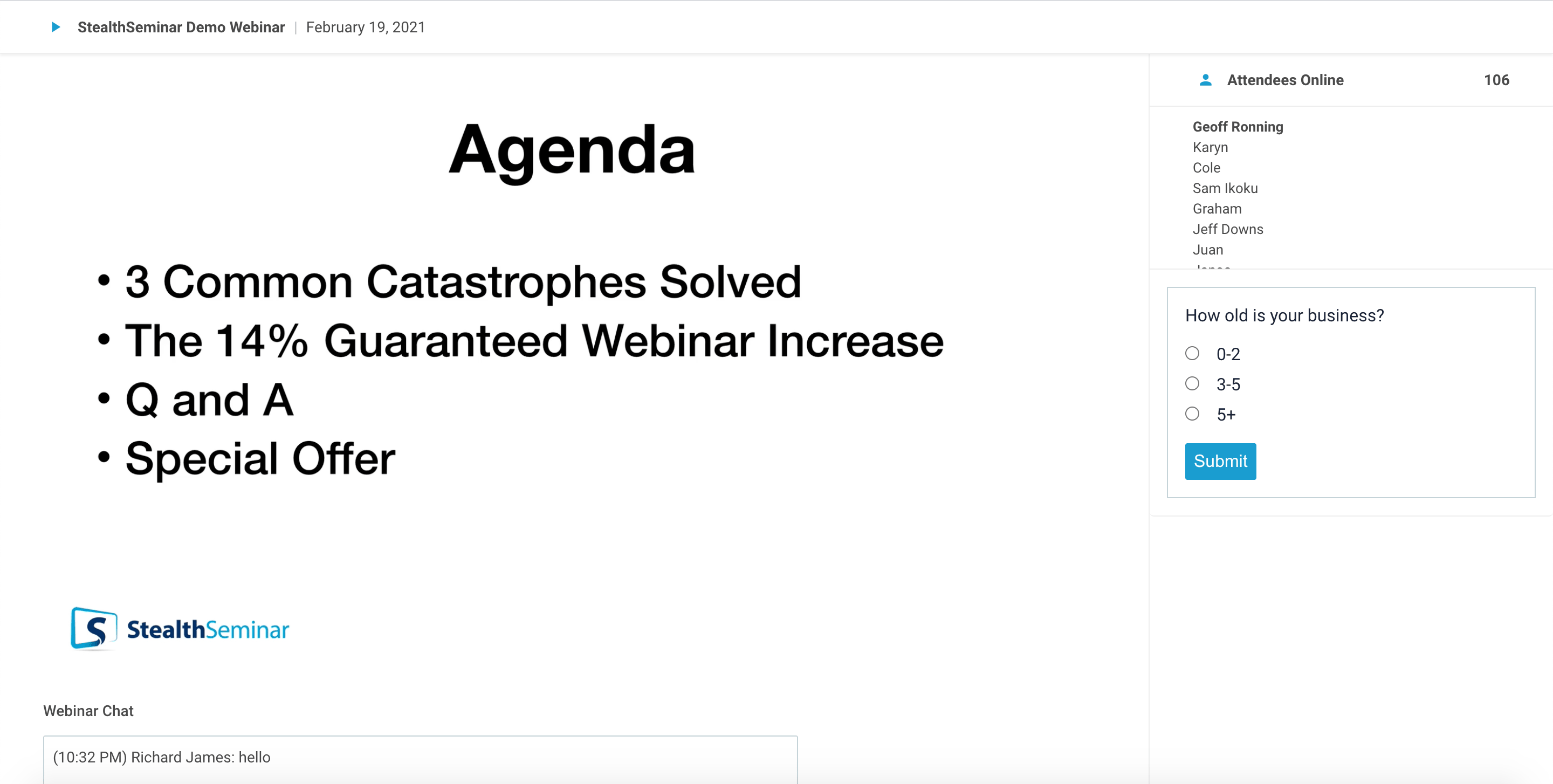 Example of an automated webinar using StealthSeminar