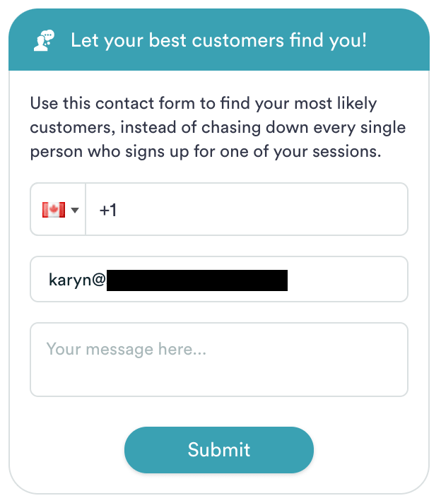 An example of a contact form towards the end of eWebinar's demo