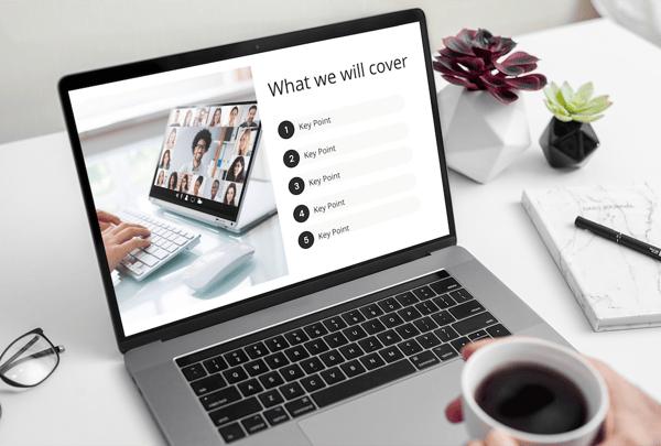 Educational webinar template on a laptop
