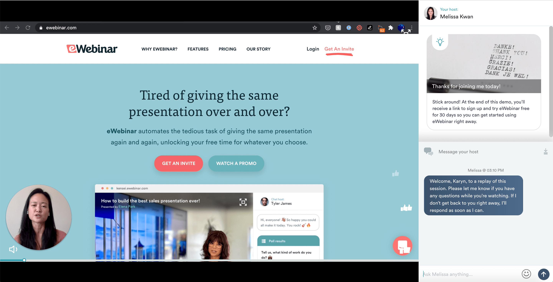 A demo of an eWebinar automated webinar