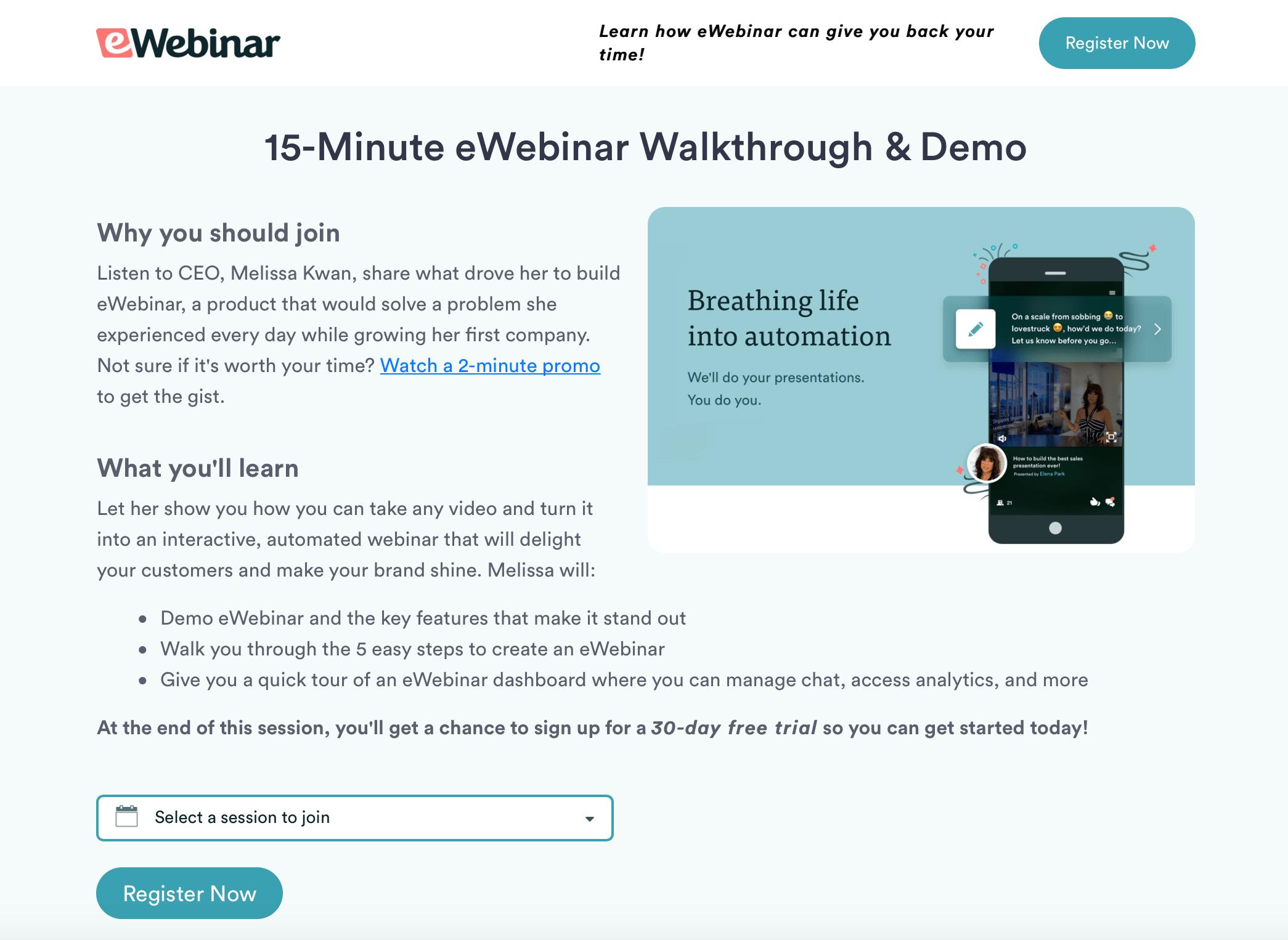 Registration page for eWebinar's demo