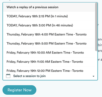 Available registration times for an eWebinar automated webinar