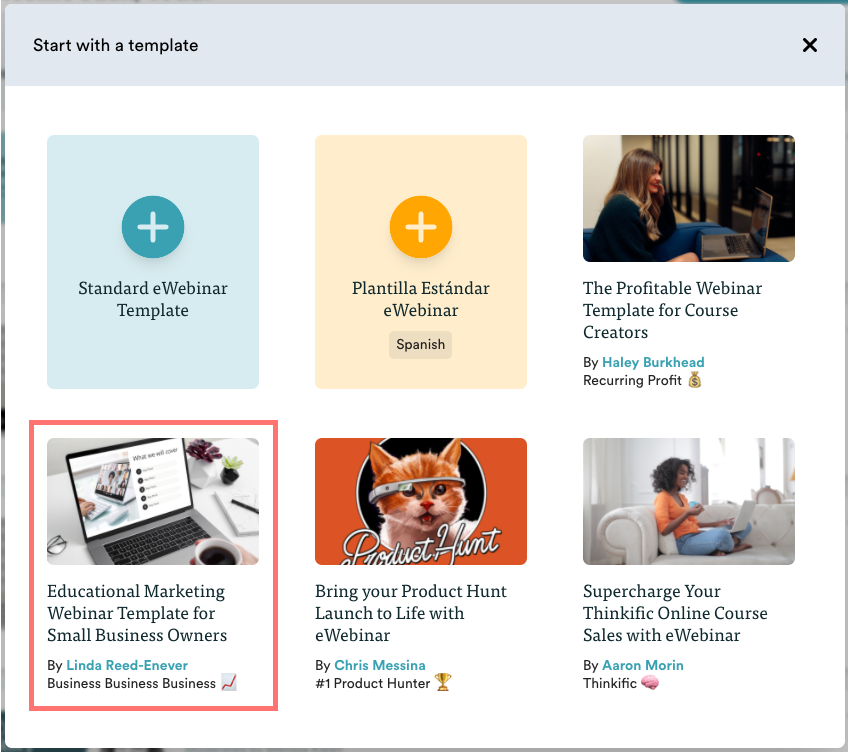 Choose template modal with educational webinar template highlighted