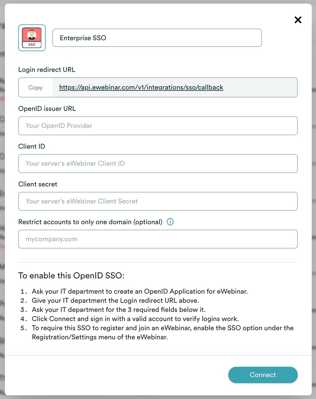 eWebinar integration modal for enterprise SSO