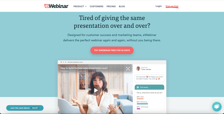eWebinar's homepage