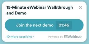 Automated webinar pop-up on eWebinar's home page