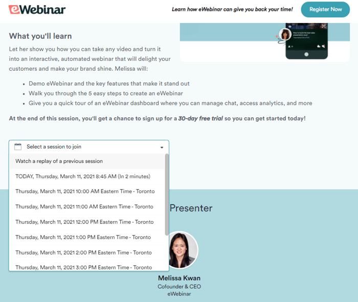"eWebinar webinar registration schedule"""