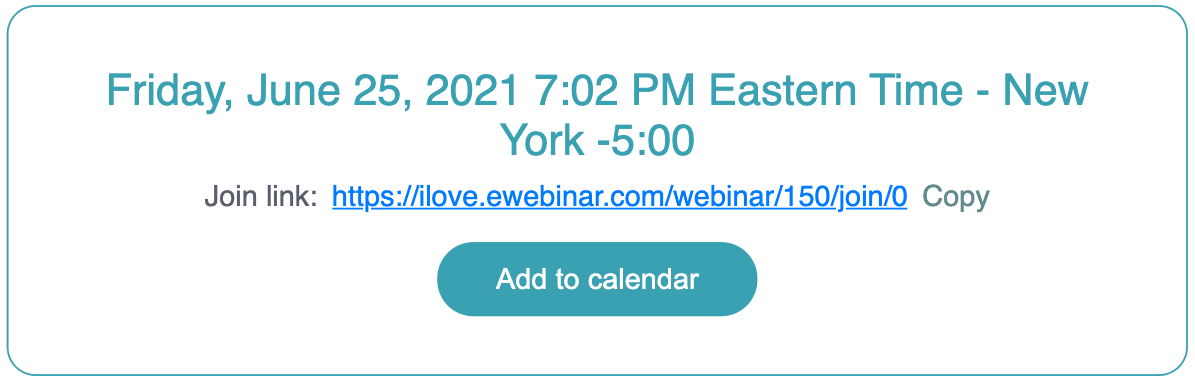 eWebinar's registration thank you page card widget