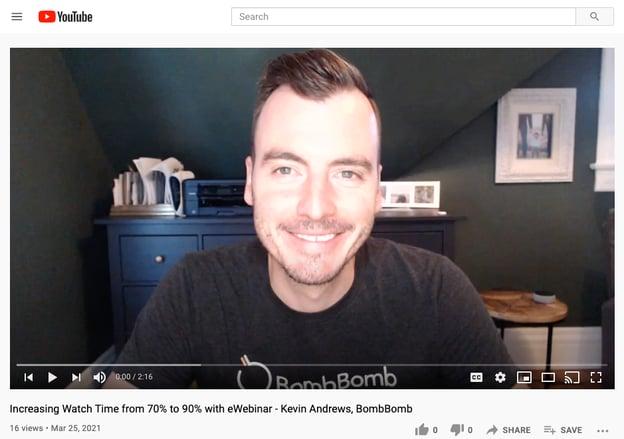Man giving video testimonial on YouTube