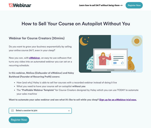 Example of a webinar registration page