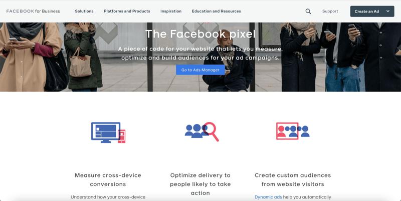 The Facebook Pixel webpage