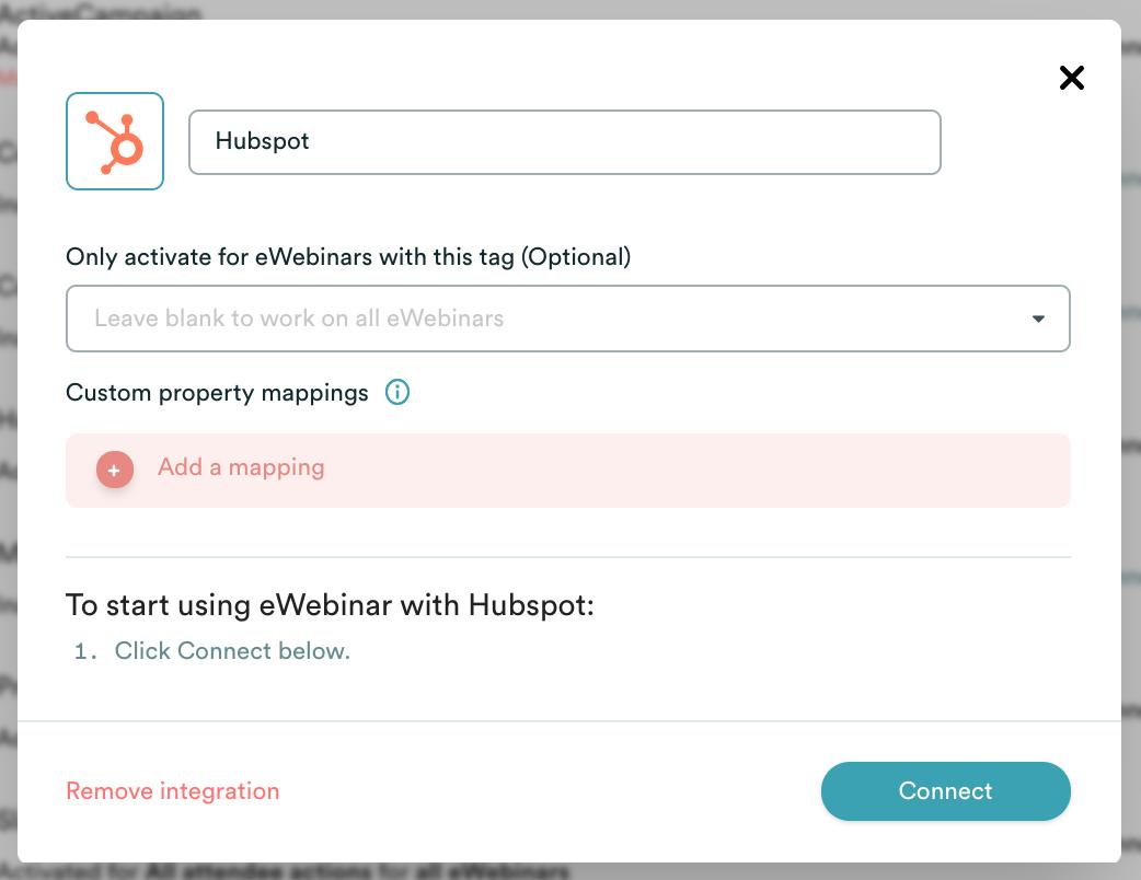 eWebinar integration modal with Hubspot