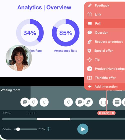 A screenshot of the the interactions customization tool in eWebinar