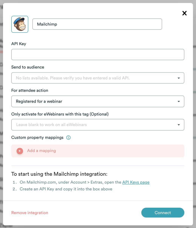 eWebinar integration modal with MailChimp