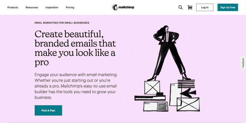Mailchimp email marketing webpage