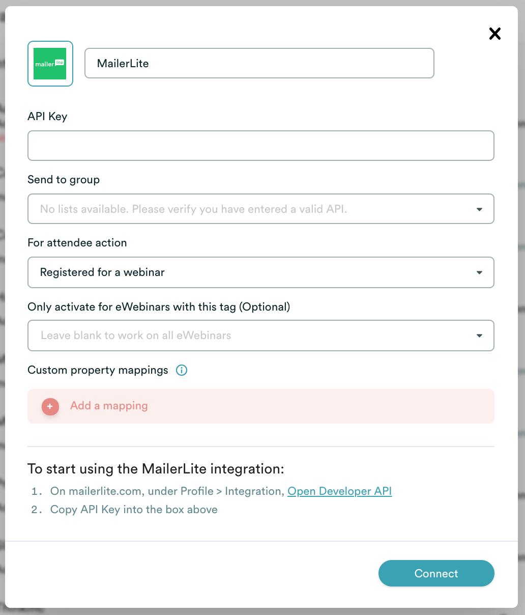 eWebinar integration modal with MailerLite