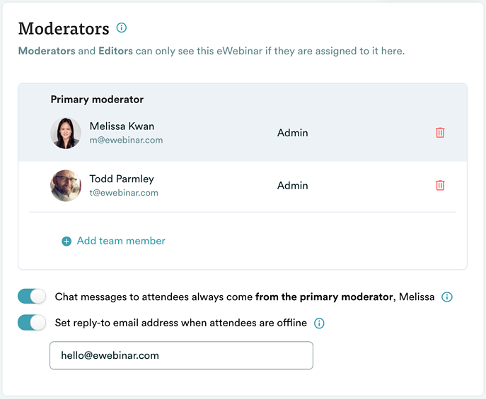 Moderator settings under chat in eWebinar