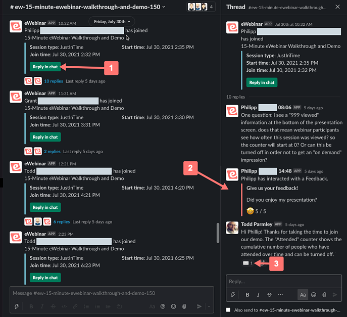 Slack message and thread indicating other features