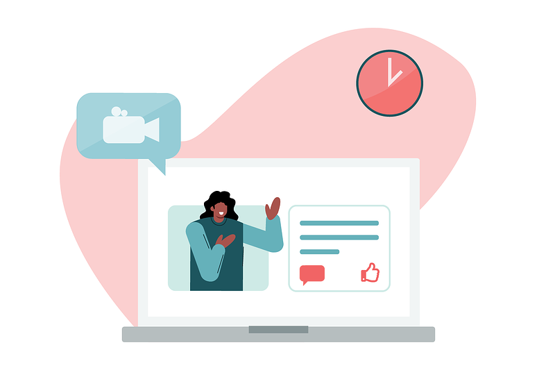 Woman hosting automated webinar