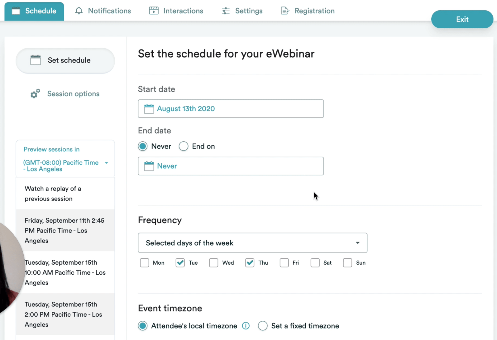 Automated webinar schedule customizations using eWebinar