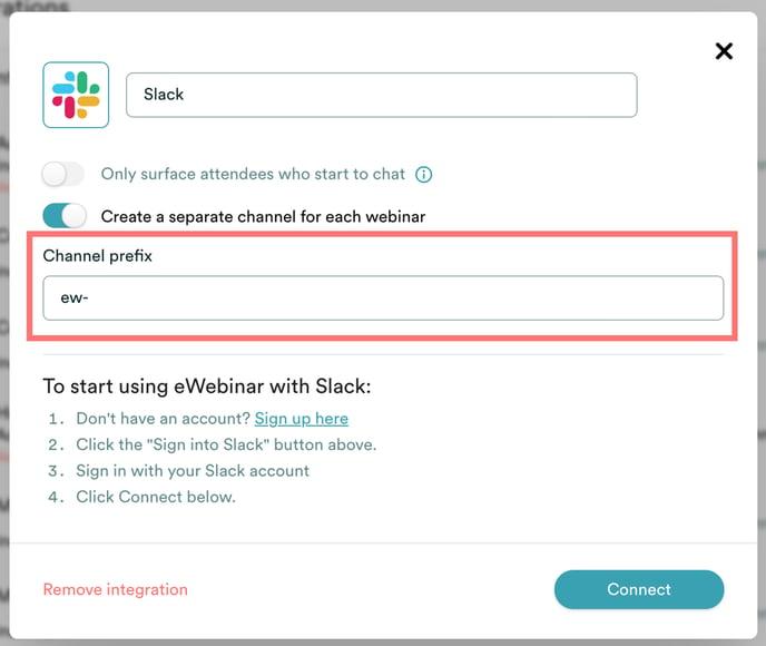 Slack channel prefix selection in eWebinar