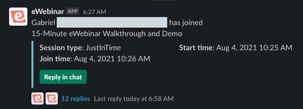 Slack message generated from eWebinar