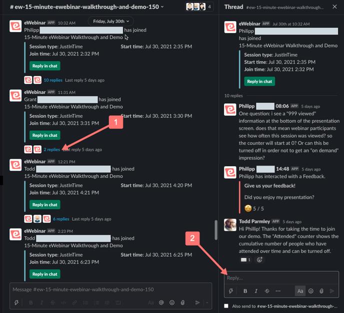 Slack message and thread