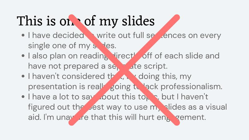 An example of a presentation slide that uses too much text