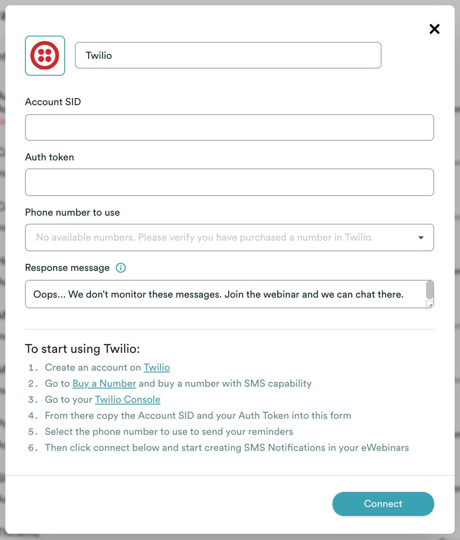 eWebinar integration modal with Twilio