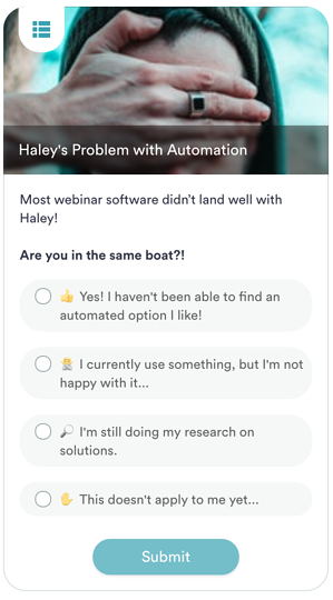 An example of a poll using eWebinar