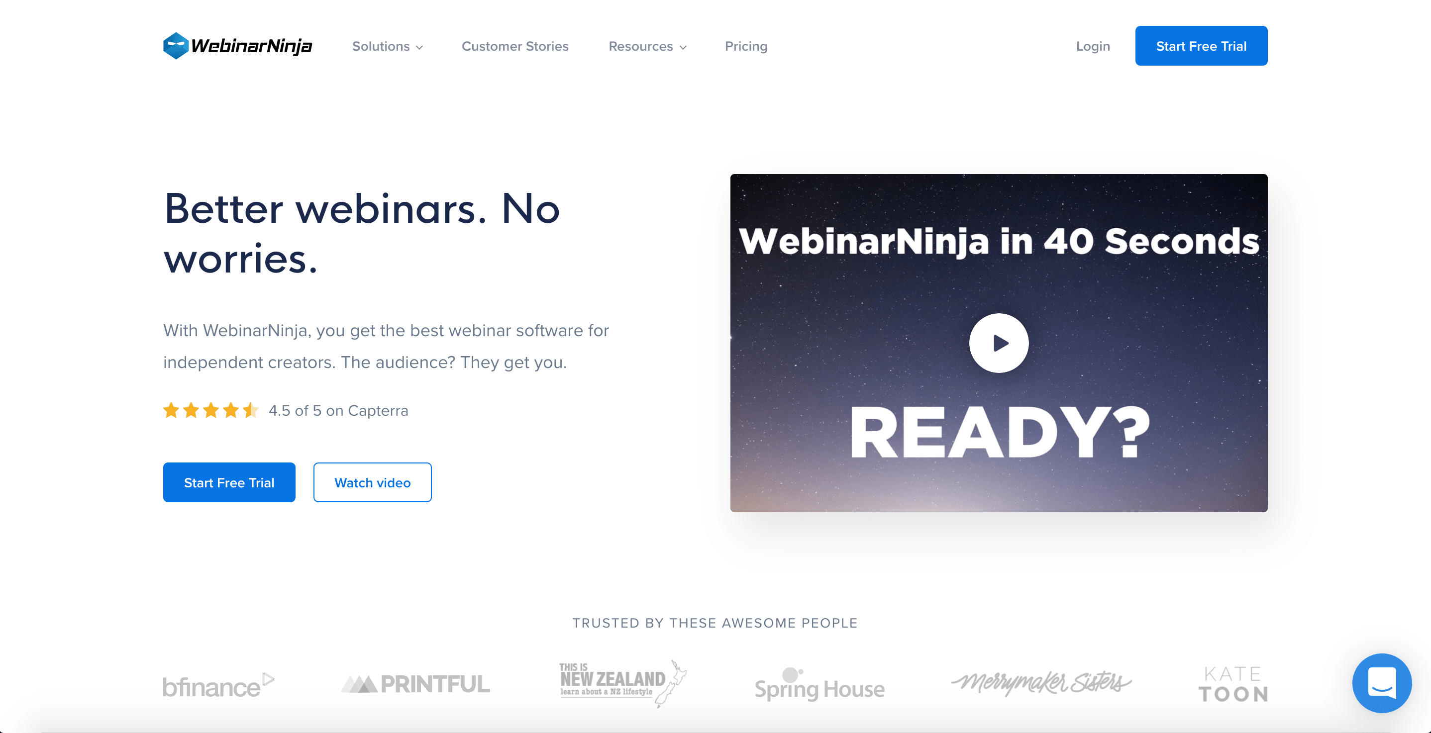 Homepage for WebinarNinja