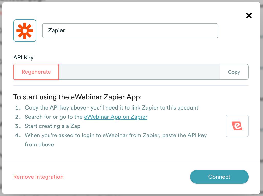eWebinar integration modal with Zapier