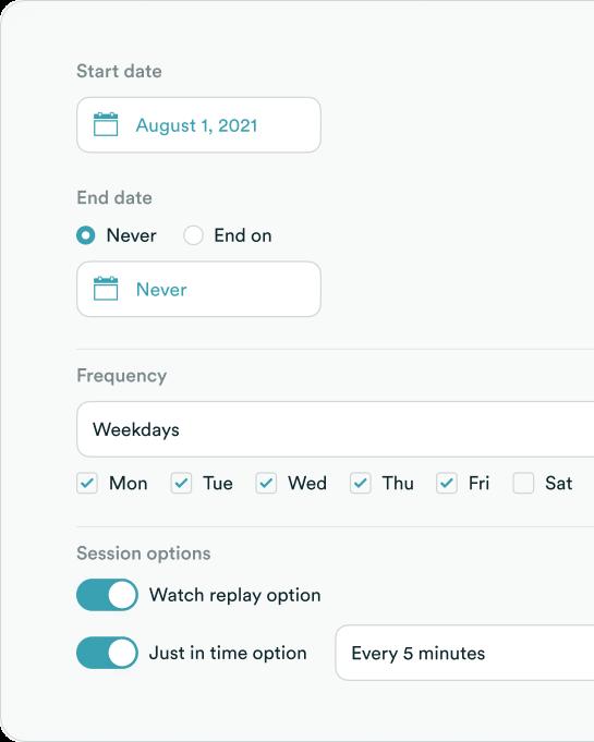 Recurring schedule screenshot