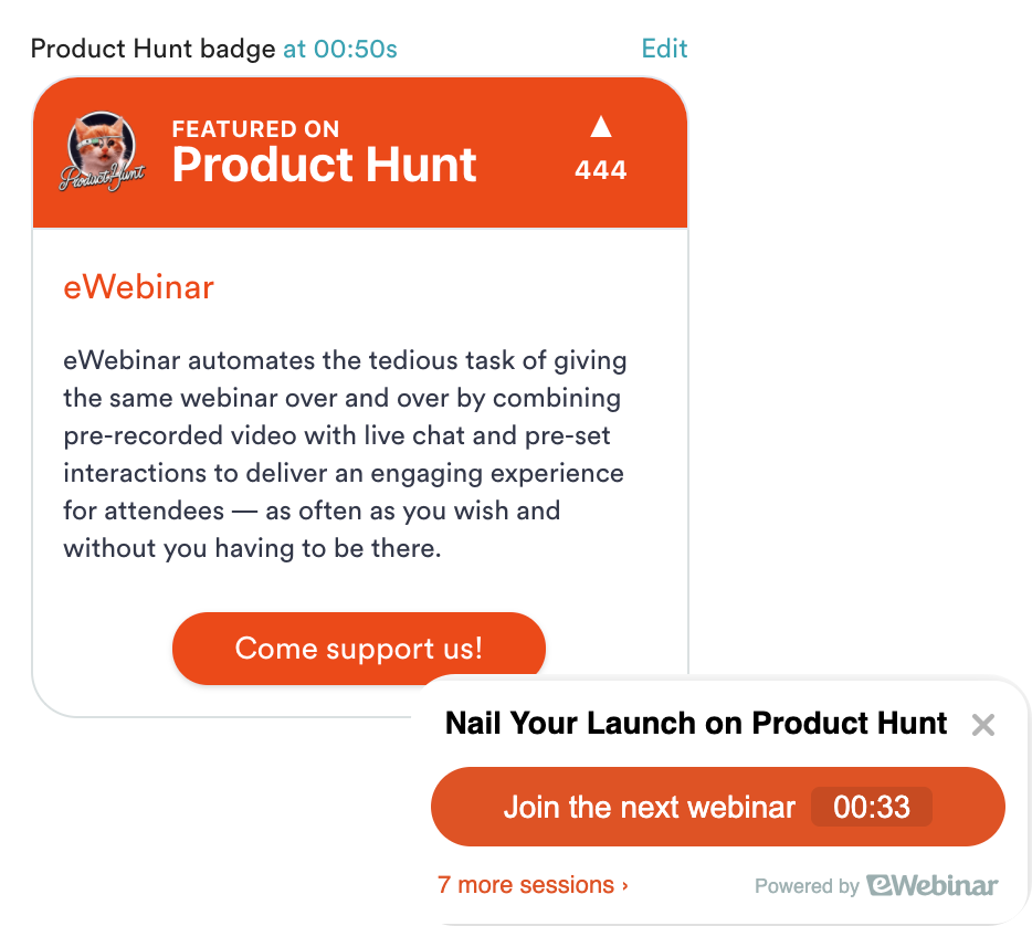 Product Hunt card and widget